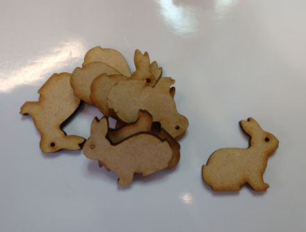 wooden craft RABBIT shapes, laser cut 3mm mdf embellishments, decoupage,